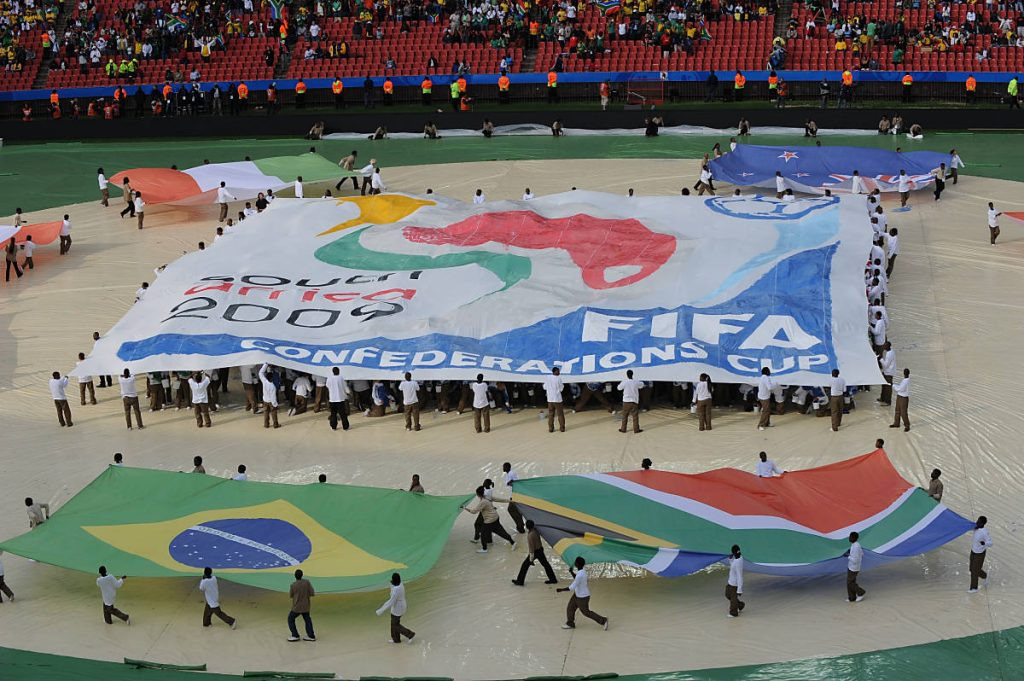 Die Eröffnungsfeier des FIFA Confederations Cup 2009 im Ellis Park stadium in Johannesburg am 14.Juni 2009. AFP PHOTO / VINCENZO PINTO