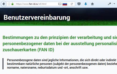 Screenhot fan-id.ru - oben im Browser zu sehen der russische Standort der Domain.
