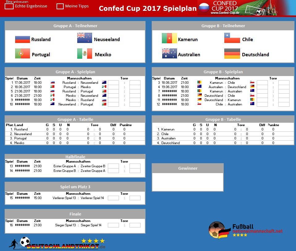 Der Excel Spielplan des Confed Cup 2017