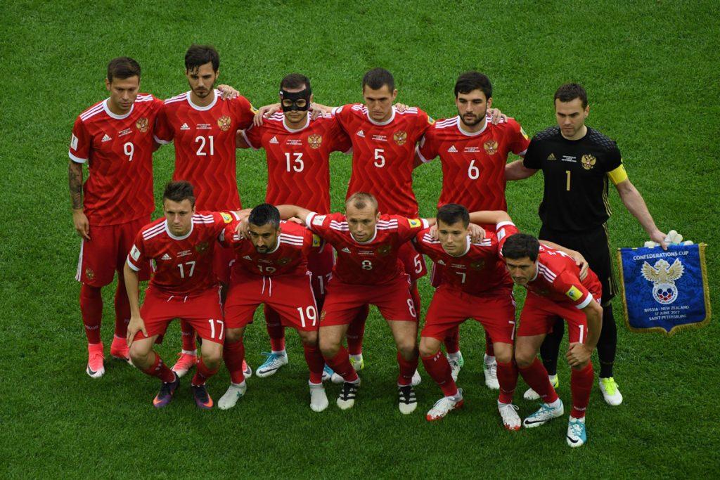 Die Startaufstellung von Russland beim Confed Cup Eröffnungsspiel gegen Neuseeland (Russland gewinnt 2:0), Foto AFP