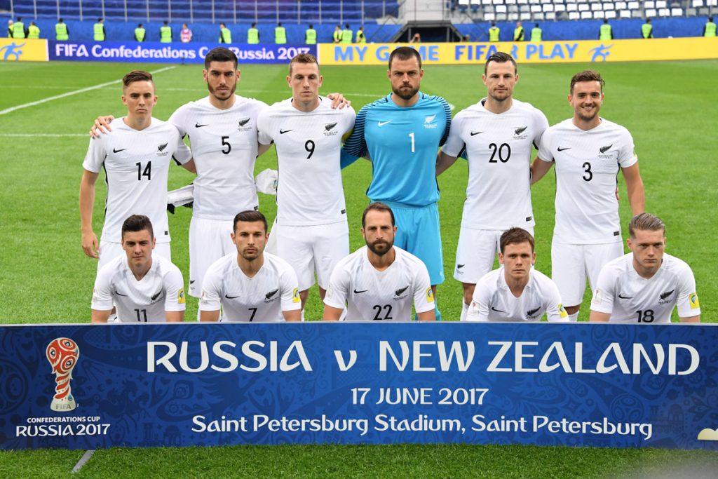 Die Startaufstellung der All-Whites gegen Russland am 17.06.2017 (Foto AFP)